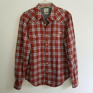 Lucky Brand Brown Plaid Western Shirt